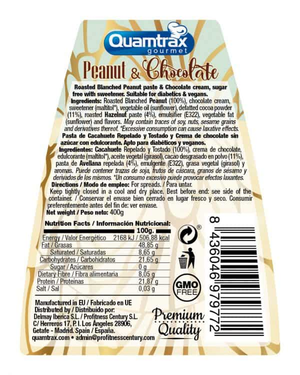 Quamtrax Nutrition Vegan Peanut & Chocolate Cream - 400 Gram