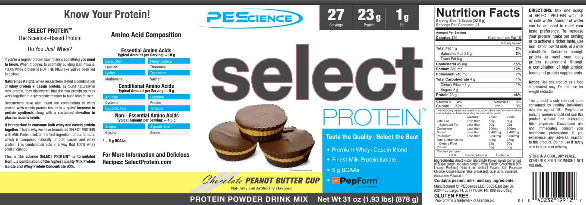 PEScience Select Protein USA Version - 837 Gram