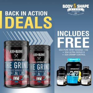 Axe & Sledge The Grind + Pure Whey, Cissus & Cramp Blocker